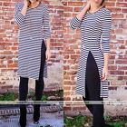 Sexy Women 3/4 Sleeve Striped Bodycon Evening Party Cocktail Long Maxi Dress