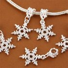 Winter Snowflake Silver Plated Big Hole Pendant Beads Fit European Bracelets