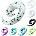 Purple White Acrylic Spiral Snail Tapers Ear Studs Flesh Tunnel Gauges Expander