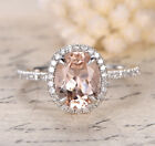 Halo Pave Diamonds 7x9mm Oval Morganite 14K White Gold Engagement Wedding Ring