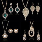Women New Style Fashion Alloy Crystal Necklace Earrings Jewelry Sets