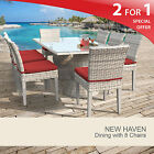 New Haven Rectangular Outdoor Patio Dining Table With 8 Chairs 2 for 1