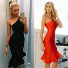Fashion New Women Cocktail Party Dress One Shoulder Fishtail Skirt Bodycon Dress
