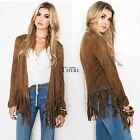 Women Short Jacket Tassel Hem Punk Biker Coat Cardigan Open Front Outwear Suit