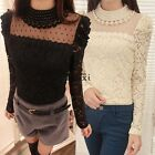 Women Lace Crochet Floral Long Sleeve Tee Shirt Casual Blouse T-Shirt Tops TXCL