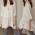 Sexy Deep V Loose Large Size Women's Lady Skirt Long Dress Party Evening Casual