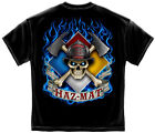 New Black T-Shirt with Haz Mat Skull Firefighter Design