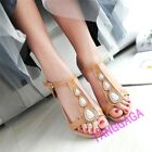 Summer Beach Womens Casual Low Heel T-Strap Wedge Sandals Rhinestones Shoes New