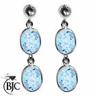 BJC® 9ct White Gold Natural Blue Topaz Oval Double Drop Dangling Studs Earrings