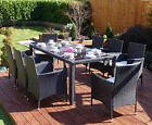 Black Rattan Garden Furniture Dining Table Set 4 6 8 Chairs Conservatory Patio