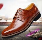Fashion Mens Alligator Pattern Business Formal Lace Up Block British Dress Shoes