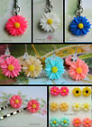DAISY FLOWER HAIR GRIPS OR STUD EARRINGS OR KEYRING RESIN
