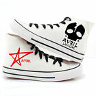 Newly AVRIL LAVIGNE Skull Design High Ankle Shoes Girls Casual Canvas Sneakers