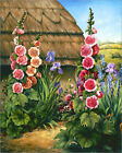Poster / Leinwandbild Cottage Garden with Hollyhocks, 1995 - Amelia Kleiser