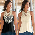 Summer Womens New Sleeveless T-shirt Lace Tank Top Leisure Vest Tunic Blouse Top
