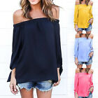 Women Slash Neck Boho Off Shoulder Hollow Out Long Sleeve T-shirt Vintage Tops