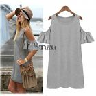 Women Off Shoulder Short Sleeve Baggy Shirt Tops Long Blouse Party Beach Dress T