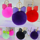 Rex Rabbit Fur Leather Bow Pompom Ball Handbag Pendant Key Chain Keyring,Hot!