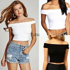 Womens Ladies Off Shoulder Crop Top Sleeveless Vest Short T-Shirt Shirt TXCL