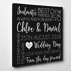 Personalised Wedding Gifts - Word Art Typography in grey on Canvas in 3 Sizes