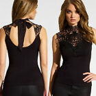 Chic Women Black Sleeveless Lace Tank Tops Fashion Summer T-Shirt Vest Shirt Top