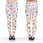 J36748 Women Ice Cream Cup Ombre 3D Graphic Print Skinny Stretchy Yoga Leggings