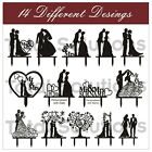 Mr & Mrs Wedding Cake Topper Decoration - Bride and Groom - Black Silhouette