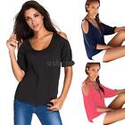 Womens Blouse Cold Shoulder 3/4 Sleeve Shirt Ladies Tee Casual Tops Solid A0Q7