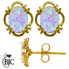 BJC® 9ct Yellow Gold Cultured Opal Single Stud Filigree Earrings Studs 1.50ct