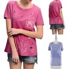 Garment Dye Round Neck Cut Out Detail T Shirt Top with Chest Pocket S M L