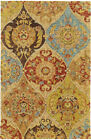 Tommy Bahama Beige Leaves Diamonds Circles Contemporary Area Rug Floral 53302