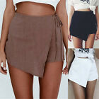 UK  8-12 New Summer  Ladies Womens Casual High Waist Tie Belt Shorts Hotpants