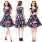 Women Simple Fashion Peach Collar Short Floral Printed Casual Party Dress 05483