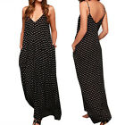Boho Women Long Maxi Summer Beach Bohemia Polka Dot Party Sleeveless Dress M-XL