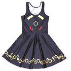 Women pleated Dress Pokemon ball Digital Printed sleeveless Mini dress S-4XL