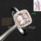 Claw Prongs 8mm Cushion Cut Pink Morganite Pave Diamond Ring Real 14K White Gold