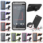 For HTC Desire 530 Heavy Duty Kickstand Plastic Rubber Rugged Armor Case Cover