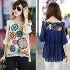 Hot Korean Style Womens Loose Chiffon Tops 3/4 Sleeve T-shirt Casual Blouse TXCL