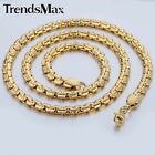 Womens Mens Gold Plated Flat Box Link Stainless Steel Chain Necklace Bracelet