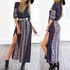 Womens Maxi Boho Floral Summer Beach Long Skirt Evening Cocktail Party Dress AU