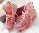 L US 4-11 Womens Rivets Lace Up Fashion Sneakers High Top Canvas Athletic Shoes