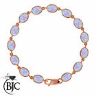 BJC® 9ct Rose Gold Cultured Opal 21.00ct Oval Gemstone Tennis Bracelet 7.5