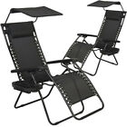 New 2 PCS Zero Gravity Chair Languish Patio Chairs with canopy Cup Holder HO74