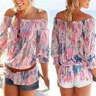 Women Gypsy Boho Floral Off Shoulder Tops Loose Casual Summer Shirt Blouse Tee