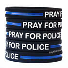 Fifty (50) Pray For Police Thin Blue Line Wristbands - Law Enforcement Bands