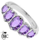 BJC® 9ct White Gold Victorian / Gypsy Style Graduating Amethyst 5 Stone Ring