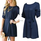 Women Crew Neck Long Sleeve Jumper Pullover Tops Cocktail Party Mini Dress K0E1
