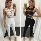 New Sexy Womens Evening Party Playsuit Ladies Lace Long Jumpsuit Size S-XL tbus
