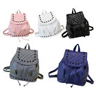 NEW 1X Backpack Travel PU Leather Rucksack Rivet Shoulder School Bag Handbag tbu