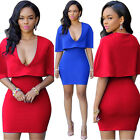Sexy Women Mini V-Neck Cape Cloak Sleeve Evening Party Cocktail Loose Dress A